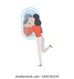 Narcissistic Woman Character Looking at Mirror and Kissing Her Reflection in Mirror, Girl Overestimate Herself, Self Confidence, Motivation Vector Illustration
