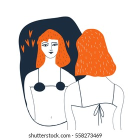 Narcissistic woman character looks in the mirror. Redhead woman   in lingerie looks in the mirror. Vector illustration. Narcissism concept.