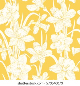 Narcissus daffodils seamless spring floral pattern. Beige flowers foliage garland on bright yellow background. Realistic detailed botanical outline sketch drawing vector design illustration.