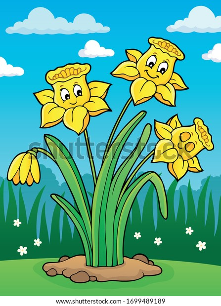 Narcissus flower theme image 2 - eps10 vector illustration.
