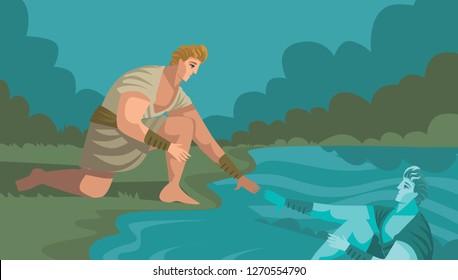 Narcissus gazing himself