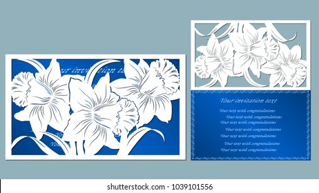 Narcissus. Template for laser cutting. Paper cut and printing. Vector illustration. plotter cutting