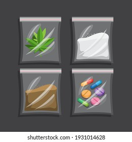 Narcotic in plastic bag collection set. drug symbol concept in cartoon illustration vector