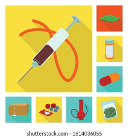 Narcotic poison medical vector fiat icon set.Vector isolated illustration drug of crime.Icon set of narcotic and medical drug.