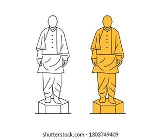 Narmada/Gujarat/India-December 20, 2018, Vector line illustration of  Sardar Vallabhai Patel, Statue of unity,