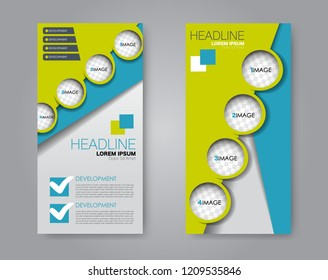Narrow flyer and leaflet design. Set of two side brochure templates. Vertical banners. Blue and green color. Vector illustration mockup.