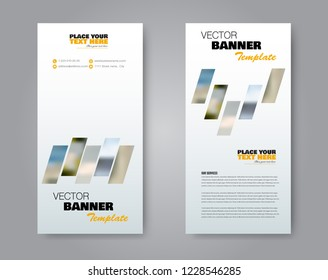 Narrow flyer and leaflet design. Set of two side brochure templates. Vertical banners. valentines day, 14 february style. Orange colors. Vector illustration mockup.