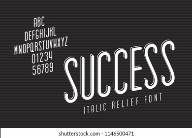 Narrow Font Called Success Italic Inverted Relief with Up Arrow Shape Hand Crafted Lettering Composition - White Caps and Numerals on Striped Texture Background - Vector Retro Typography Design