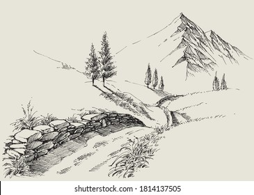 A narrow footpath in the mountains, alpine relaxing landscape hand drawing