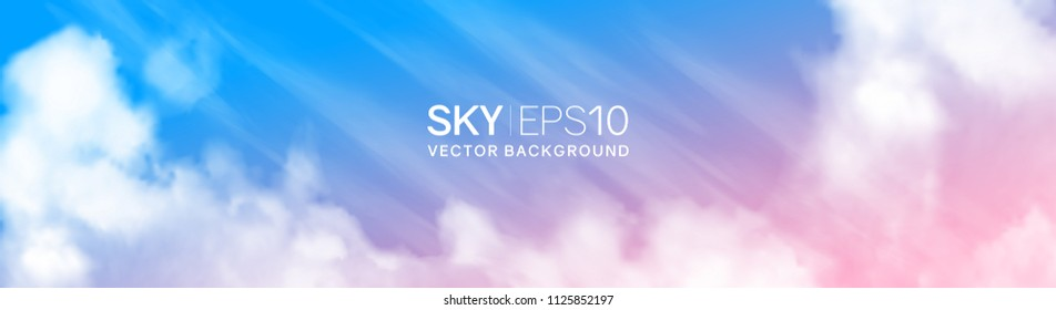 Narrow horizontal vector banner with realistic pink-blue sky and cumulus clouds. The image can be used to design a flyer and postcard.