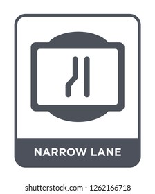 narrow lane icon vector on white background, narrow lane trendy filled icons from Traffic signs collection, narrow lane simple element illustration