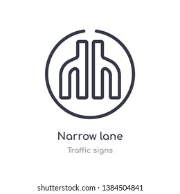 narrow lane outline icon. isolated line vector illustration from traffic signs collection. editable thin stroke narrow lane icon on white background