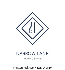 Narrow lane sign icon. Narrow lane sign linear symbol design from Traffic signs collection. Simple outline element vector illustration on white background