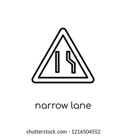 Narrow lane sign icon. Trendy modern flat linear vector Narrow lane sign icon on white background from thin line traffic sign collection, editable outline stroke vector illustration
