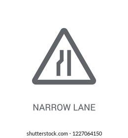 Narrow lane sign icon. Trendy Narrow lane sign logo concept on white background from Traffic Signs collection. Suitable for use on web apps, mobile apps and print media.