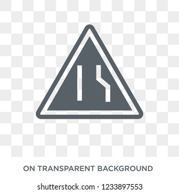Narrow lane sign icon. Trendy flat vector Narrow lane sign icon on transparent background from traffic sign collection.
