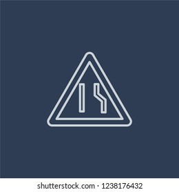 Narrow lane sign icon. Trendy flat vector line Narrow lane sign icon on dark blue background from traffic sign collection.