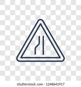 Narrow lane sign icon. Trendy linear Narrow lane sign logo concept on transparent background from Traffic Signs collection