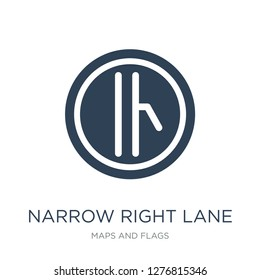 narrow right lane icon vector on white background, narrow right lane trendy filled icons from Maps and Flags collection, narrow right lane vector illustration