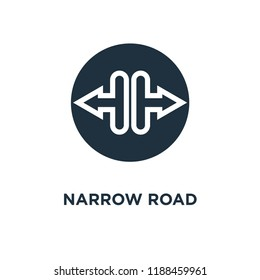 Narrow road icon. Black filled vector illustration. Narrow road symbol on white background. Can be used in web and mobile.