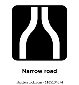 Narrow road icon vector isolated on white background, Narrow road transparent sign