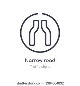 narrow road outline icon. isolated line vector illustration from traffic signs collection. editable thin stroke narrow road icon on white background