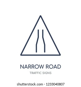 Narrow road sign icon. Narrow road sign linear symbol design from Traffic signs collection. Simple outline element vector illustration on white background