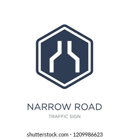 Narrow road sign icon. Trendy flat vector Narrow road sign icon on white background from traffic sign collection, vector illustration can be use for web and mobile, eps10