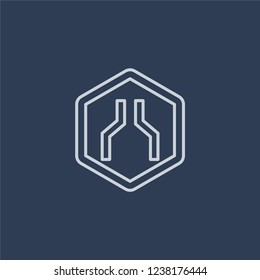Narrow road sign icon. Trendy flat vector line Narrow road sign icon on dark blue background from traffic sign collection.