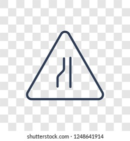 Narrow road sign icon. Trendy linear Narrow road sign logo concept on transparent background from Traffic Signs collection