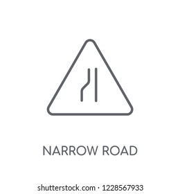 Narrow road sign linear icon. Modern outline Narrow road sign logo concept on white background from Traffic Signs collection. Suitable for use on web apps, mobile apps and print media.