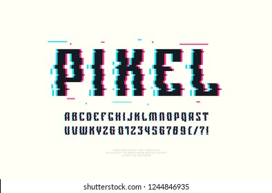 Narrow sans serif font with glitch distortion effect. Color print on white background