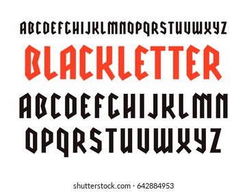 Narrow sanserif font in black letter style. Design for titles and logos. Isolated on white background