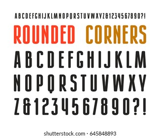 Narrow sanserif font with rounded corners. Design for titles and logos. Isolated on white background