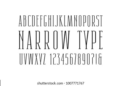 Narrow serif font. Thin line typeface. Letters and numbers for logo and title design. Isolated on white background