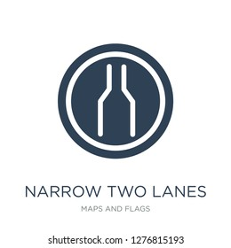 narrow two lanes icon vector on white background, narrow two lanes trendy filled icons from Maps and Flags collection, narrow two lanes vector illustration