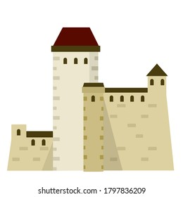 Narva castle. Fortress of knight and king with tower and wall. Tourist attraction in Estonia. Eastern European landmark. Medieval stone citadel. Flat cartoon illustration