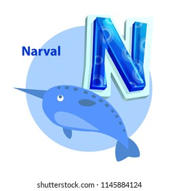 Narval marine creature for N letter children alphabet pastel color poster. Vector sea unicorn fish for right spelling and reading english consonant.