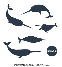 narwhal animal vector silhouette set