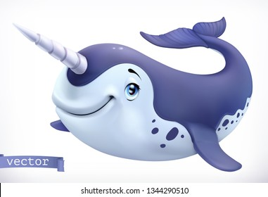 Narwhal cartoon character. Funny animal, 3d vector icon