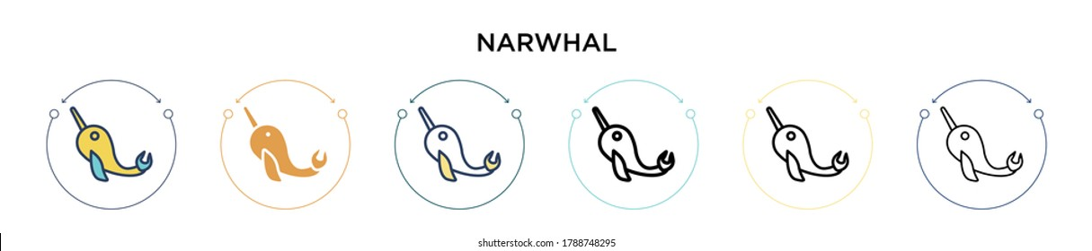 Narwhal icon in filled, thin line, outline and stroke style. Vector illustration of two colored and black narwhal vector icons designs can be used for mobile, ui, web