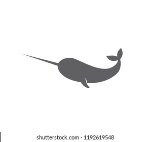 Narwhal icon.   Narwhal whale icon.