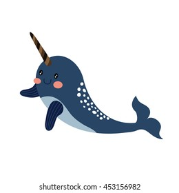 Narwhal whale animal cartoon character isolated on white background.