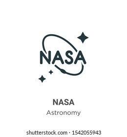 Nasa vector icon on white background. Flat vector nasa icon symbol sign from modern astronomy collection for mobile concept and web apps design.