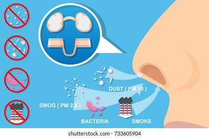 Nasal Filters Nose Mask Dust Allergies Allergy Pollen Pollution Smoke Prevent Bacteria Virus Carcinogen in Air Environment