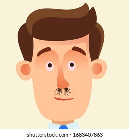Nasal hair. Young man with extremely long nose hair. Vector illustration, flat design cartoon style, portrait, isolated background.