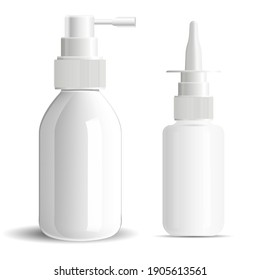 Nasal spray bottle, nose or throat medicine aerosol blank. Isolated vector container with dropper for nozzle drug product. Realistic oral dosedispenser mock up against flu, pharmaceutical medication