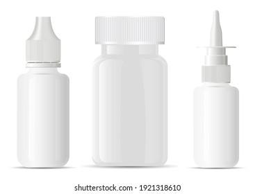 Nasal spray bottle. Pill bottle container blank mockup. Medical aerosol jar, nose sprayer dispenser template. Eye drug dropper mock up, small dose. Empty medicament tablet supplement vitamin