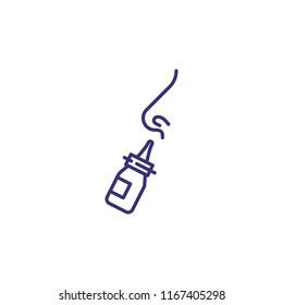 Nasal spray line icon. Cold, running nose, rhinitis. Medicine concept. Vector illustration can be used for topics like healthcare, illness, pharmacy