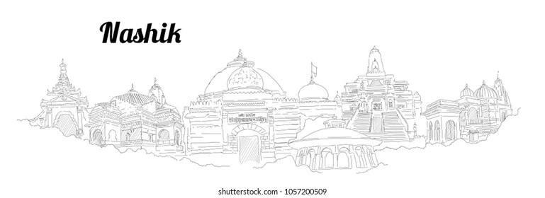 Nashik city hand drawing panoramic sketching style illustration